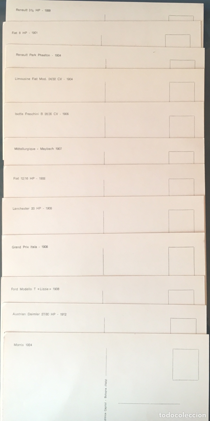 Postales: LOTE 12 POSTALES AUTOS ANTIGUOS. CASA EDITRICE CAPITOL. BOLOGNA - Foto 2 - 155656460