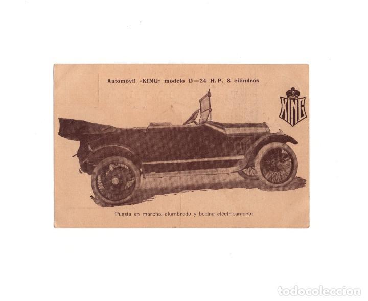 AUTOMOVIL KING. MODELO D. 24 H.P. 8 CILINDROS. PUESTA EN MARCHA ALUMBRADO Y BOCINA ELÉCTRICA. (Postales - Postales Temáticas - Coches y Automóviles)