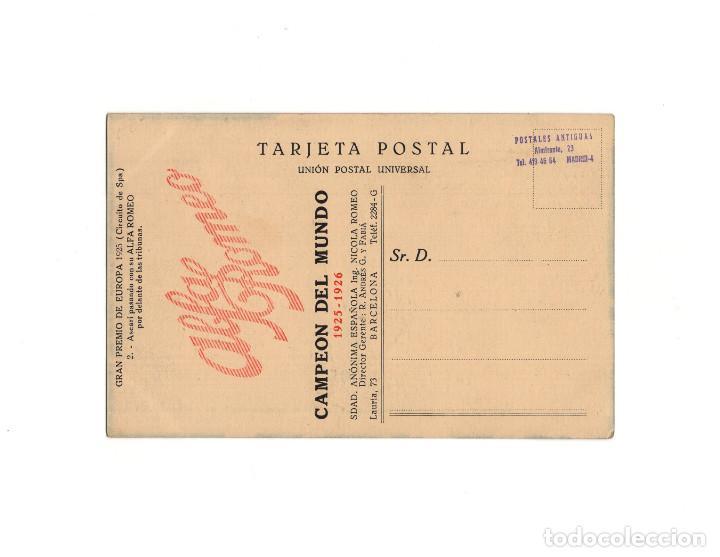 Postales: GRAN PREMIO DE EUROPA 1925.(CIRCUITO DE SPA). CAMPARI EN EL MOMENTO DE LLEGAR. ALFA ROMERO. - Foto 2 - 160365598