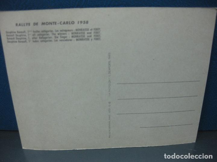Postales: POSTAL RALLYE DE MONTE-CARLO 1958. RENAULT DAUPHINE TODAS LAS CATEGORIAS VENCEDORES MONRAISSE-FERET - Foto 2 - 163853702
