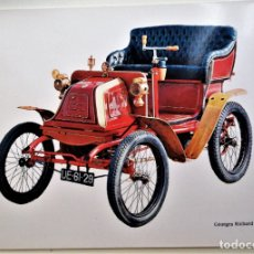 Postales: COCHE ANTIGUO: GEORGES RICHARD 3,5 H.P. (1900). NUEVA. COLOR. Lote 171658364