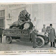 Postales: AUTOMÓVIL CON PUBLICIDAD CIRAGE LION NOIR, EXPOSITION DE BRUXELLES 1910. Lote 174235767