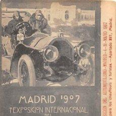 Postales: RECUERDO DE LA 1º EXPOSICIÓN DEL AUTOMOVILISMO- MADRID- MAYO 1907. Lote 183386736