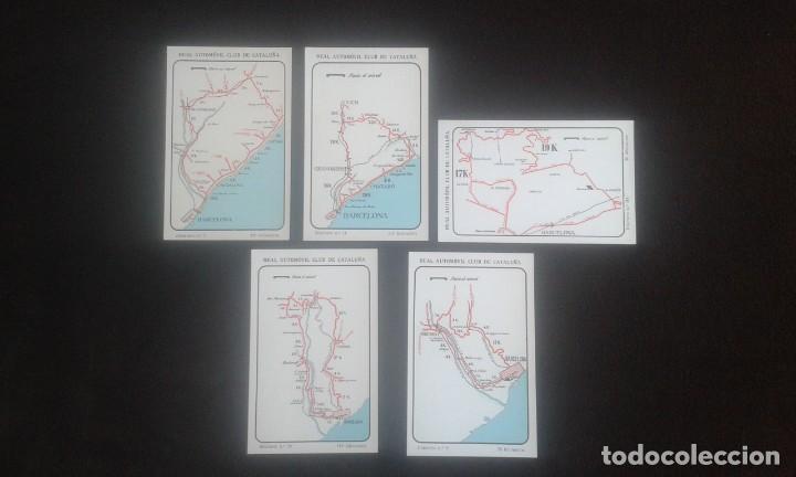 LOTE DE 5 POSTALES PUBLICITARIAS.REAL AUTOMOVIL CLUB DE CATALUÑA.5 ITINERARIOS. LA HISPANO-SUIZA. (Postales - Postales Temáticas - Coches y Automóviles)