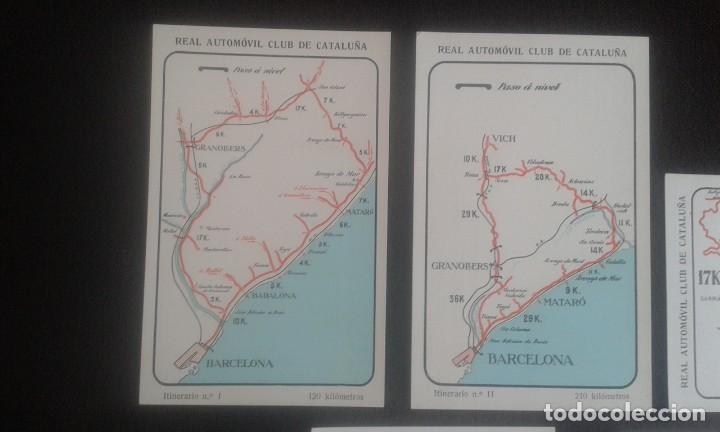 Postales: LOTE DE 5 POSTALES PUBLICITARIAS.REAL AUTOMOVIL CLUB DE CATALUÑA.5 ITINERARIOS. LA HISPANO-SUIZA. - Foto 2 - 195384833
