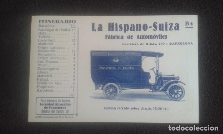 Postales: LOTE DE 5 POSTALES PUBLICITARIAS.REAL AUTOMOVIL CLUB DE CATALUÑA.5 ITINERARIOS. LA HISPANO-SUIZA. - Foto 18 - 195384833
