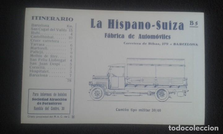 Postales: LOTE DE 5 POSTALES PUBLICITARIAS.REAL AUTOMOVIL CLUB DE CATALUÑA.5 ITINERARIOS. LA HISPANO-SUIZA. - Foto 20 - 195384833