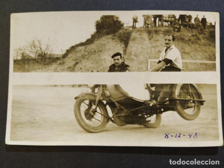 MOTO CON SIDECAR-FOTOGRAFO R.TORRES, BARCELONA-POSTAL FOTOGRAFICA ANTIGUA-(68.628) (Postales - Postales Temáticas - Coches y Automóviles)