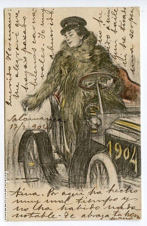 MUJER CONDUCIENDO 1904, ILUSTRADOR RAMÓN CASAS, EDITADA POR LUIS BARTRINA, BARCELONA, CIRCULADA (Postales - Postales Temáticas - Coches y Automóviles)