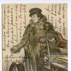 Postales: MUJER CONDUCIENDO 1904, ILUSTRADOR RAMÓN CASAS, EDITADA POR LUIS BARTRINA, BARCELONA, CIRCULADA. Lote 197198772