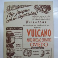 Postales: VULCANO - OVIEDO - NEUMATICOS FIRESTONE. Lote 201521281