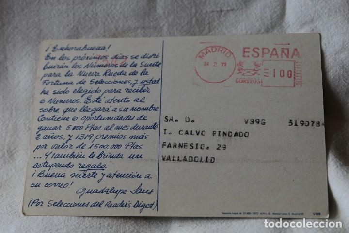 Postales: SORTEO RUEDA DE LA FORTUNA. SELECCIONES DEL READERS DIGEST. SEAT 1430 CIRCULADA 1973 - Foto 2 - 202449700
