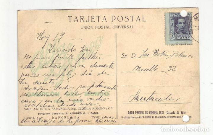 Postales: 1925 - GRAN PREMIO DE EUROPA(CIRCUITO DE SPA) - ALFA ROMEO - ASCARI SOBRE SU ALFA ROMEO - Foto 2 - 206595175