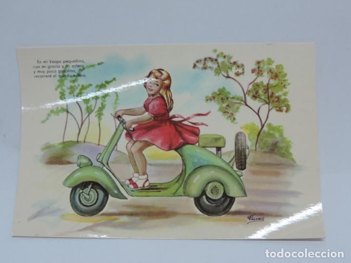 ANTIGUA FOTO POSTAL DE MOTO VESPA - ED. P. ESPERON - SERIE XX - NO CIRCULADA - ILUSTRADA POR FUSAC. (Postales - Postales Temáticas - Coches y Automóviles)