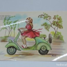 Postales: ANTIGUA FOTO POSTAL DE MOTO VESPA - ED. P. ESPERON - SERIE XX - NO CIRCULADA - ILUSTRADA POR FUSAC.. Lote 206853110