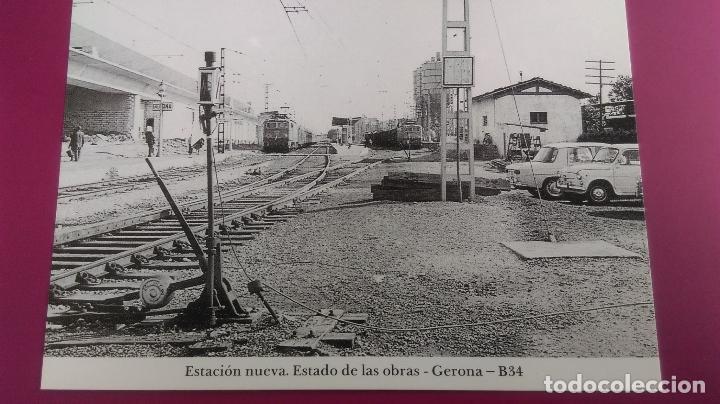 ESTACION NUEVA ESTADO DE LAS OBRAS GERONA GIRONA SEAT 600 124 (Postales - Postales Temáticas - Coches y Automóviles)