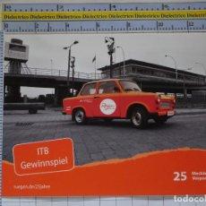 Postales: POSTAL DE COCHES MOTOS. ANTIGUO COCHE TRABANT ELECTRIFICADO ETRABIS. 975. Lote 210255600