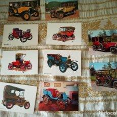 Postales: 10 POSTALES DE COCHES ANTIGUOS. SIN USAR. Lote 212110351