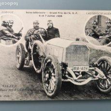 Postales: POSTAL DEPORTES AUTOMOVILISMO GRAND PRIX 1908 MERCEDES POEGGE SALZER LAUTENSCHLAGER COCHES. Lote 105800163