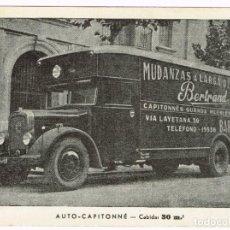 Postales: POSTAL PUBLICITARIA MUDANZAS A LARGA DISTANCIA BERTRAND AUTO-CAPITONNÉ 30 MTS3. AÑOS 40 - 50. Lote 220618205