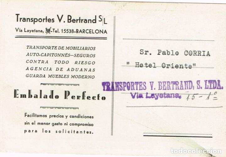 Postales: Postal Publicitaria MUDANZAS A LARGA DISTANCIA BERTRAND Auto-Capitonné 30 mts3. años 40 - 50 - Foto 2 - 220618205