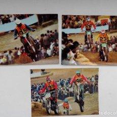Postales: 3 POSTALES COMPETICION MOTOCROSS - SIN ESCRIBIR - AÑO 1973. Lote 221840738