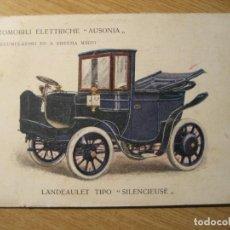 Postales: ANTIGUA POSTAL PUBLICIDAD AUSONIA . AUTOMOBILI ELETTRICHE . LANDEAULET 1907 CIRCULADA. Lote 246470045