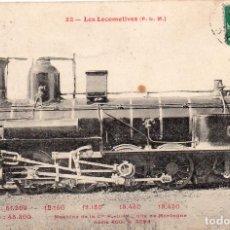 Postales: POSTAL ANTIGUA MÁQUINA DE TREN LOCOMOTORA Y MAQUINISTAS DE ÉPOCA CIRCULADA Y RESELLADA AÑO 1908. Lote 246515150