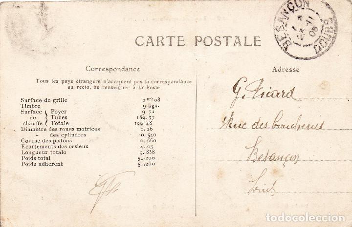 Postales: Postal antigua Máquina de tren Locomotora y maquinistas de época Circulada y resellada Año 1908 - Foto 2 - 246515150