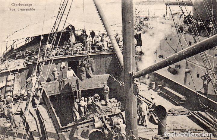 POSTAL ANTIGUA GRECIA BARCOS DE GUERRA Y DE CARGA CIRCULADA FECHADA AÑO 9 - 12 - 1917 (Postales - Postales Temáticas - Coches y Automóviles)