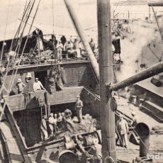 Postales: POSTAL ANTIGUA GRECIA BARCOS DE GUERRA Y DE CARGA CIRCULADA FECHADA AÑO 9 - 12 - 1917. Lote 246517185