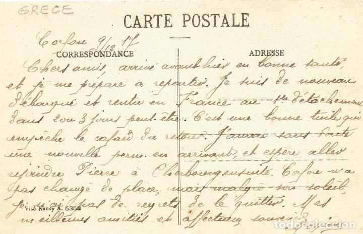 Postales: Postal antigua Grecia Barcos de Guerra y de Carga Circulada Fechada Año 9 - 12 - 1917 - Foto 2 - 246517185