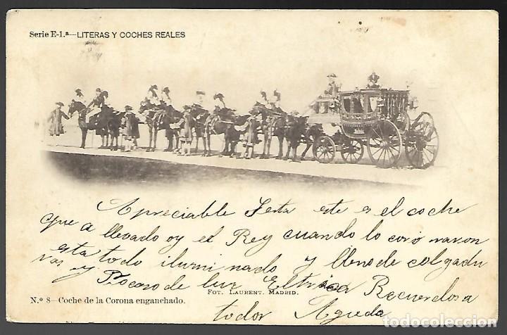 POSTAL, SERIE E-1ª - LITERAS Y COCHES REALES. Nº 8 - COCHE DE LA CORONA ENGANCHADO. CIRCULADA 1902 (Postales - Postales Temáticas - Coches y Automóviles)