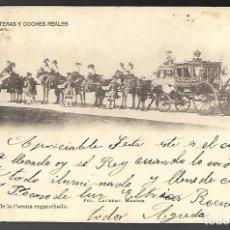 Postales: POSTAL, SERIE E-1ª - LITERAS Y COCHES REALES. Nº 8 - COCHE DE LA CORONA ENGANCHADO. CIRCULADA 1902. Lote 254435680