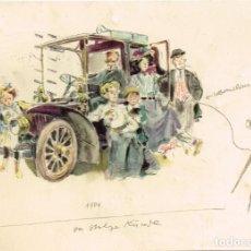 """Postales: 1960¿? POSTAL """"MERCEDES - BENZ"""" FAMILIA CON EL MODELO DE 1904 - ALEMANIA, CIRCULADA. Lote 268034654"""