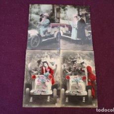 Cartoline: PPIOS XX, 4 ANTIGUAS POSTALES , PAREJAS GALANTES CON COCHE, UNOS 15 X 10 CMS.. Lote 287250728