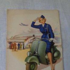 Postales: MOTO VESPA CLUB SPAIN AÑOS 50 AEROPUERTO POSTAL SC ORIGINAL 15 X 10,5 CM. Lote 288430098