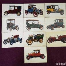 Postales: LOTE CON 10 POSTALES DE COCHES ANTIGUOS, VINTAGE. Lote 293196898