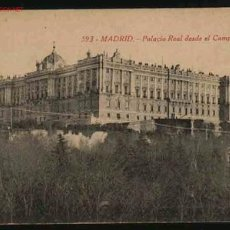 Postales: MADRID 593 : PALACIO REAL DESDE EL CAMPO DEL MORO. Lote 223899