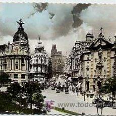 Postales: MADRID. CALLE ALCALA Y AVDA JOSE ANTONIO. GARCIA GARRABELLA Nº 1. CIRCULADA. Lote 3285414