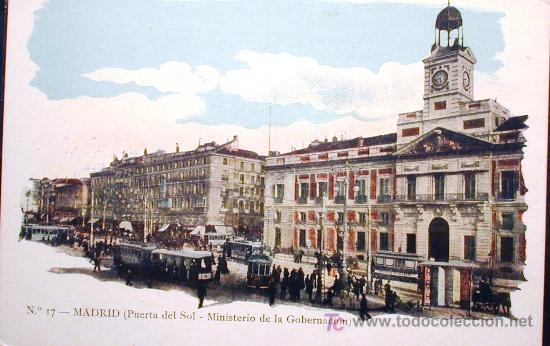 PUERTA DEL SOL .MINISTERIO DE GOBERNACIÓN (Postales - España - Comunidad de Madrid Antigua (hasta 1939))