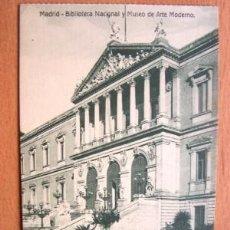Postales: MADRID - BIBLIOTECA NACIONAL - EDICIÓN GRANDES ALMACENES MADRID-PARÍS - PRINCIPIOS DE SIGLO XX. Lote 18865192