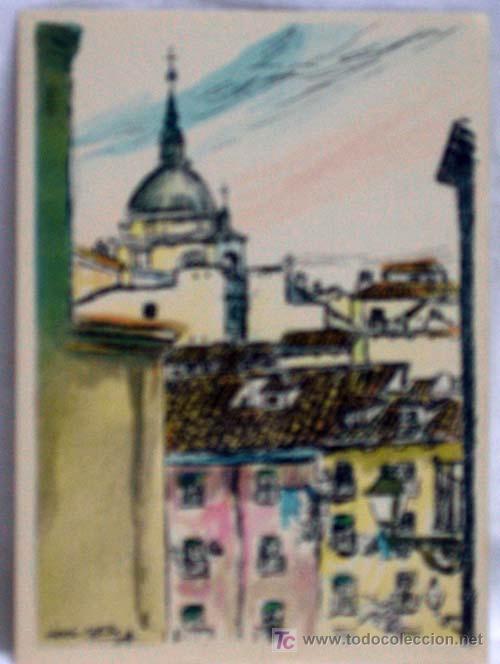 POSTAL DIBUJADA MADRID TEJADOS MADRILEÑOS ANTONIO CASERO COMISIÓN DEPORTES FESTEJOS SIN CIRCULAR (Postales - España - Madrid Moderna (desde 1940))