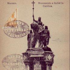 Postales: MONUMENTO A ISABEL LA CATOLICA. FOTOTIPIA J. ROIG. SIN CIRCULAR. FRANQUEO Y MATASELLOS DE FANTASIA. Lote 24766214