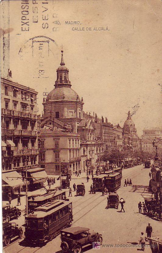 MADRID CALLE DE ALCALA FOTOTIPIA HAUSER Y MENET. CIRCULADA 12/10/1928 ZARAGOZA A BARCELONA.TRANVIAS (Postales - España - Comunidad de Madrid Antigua (hasta 1939))