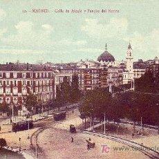 Postales: MADRID: CALLE DE ALCALA Y PARQUE DEL RETIRO. MADRID POSTAL. SIN CIRCULAR. TEMATICA: TRANVIAS.. Lote 7238155