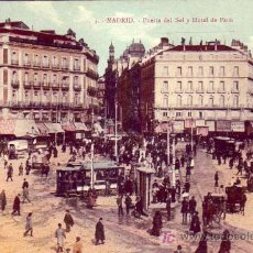 Postales: MADRID: PUERTA DEL SOL Y HOTEL DE PARIS. MADRID POSTAL. SIN CIRCULAR. TEMATICA: TRANVIAS.. Lote 7238210