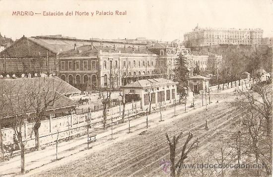 MADRID.ESTACION DEL NORTE Y PALACIO REAL (Postales - España - Comunidad de Madrid Antigua (hasta 1939))
