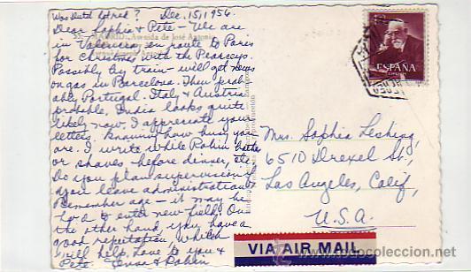 Postales: MADRID: AVENIDA DE JOSE ANTONIO: POSTAL ED. GARCIA GARRABELLA CIRCULADA 1956 CORREO AEREO A USA - Foto 2 - 8772110