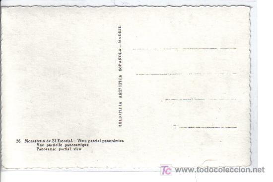Postales: 36 MONASTERIO DE EL ESCORIAL. - Vista parcial panorámica- - Foto 2 - 26537229